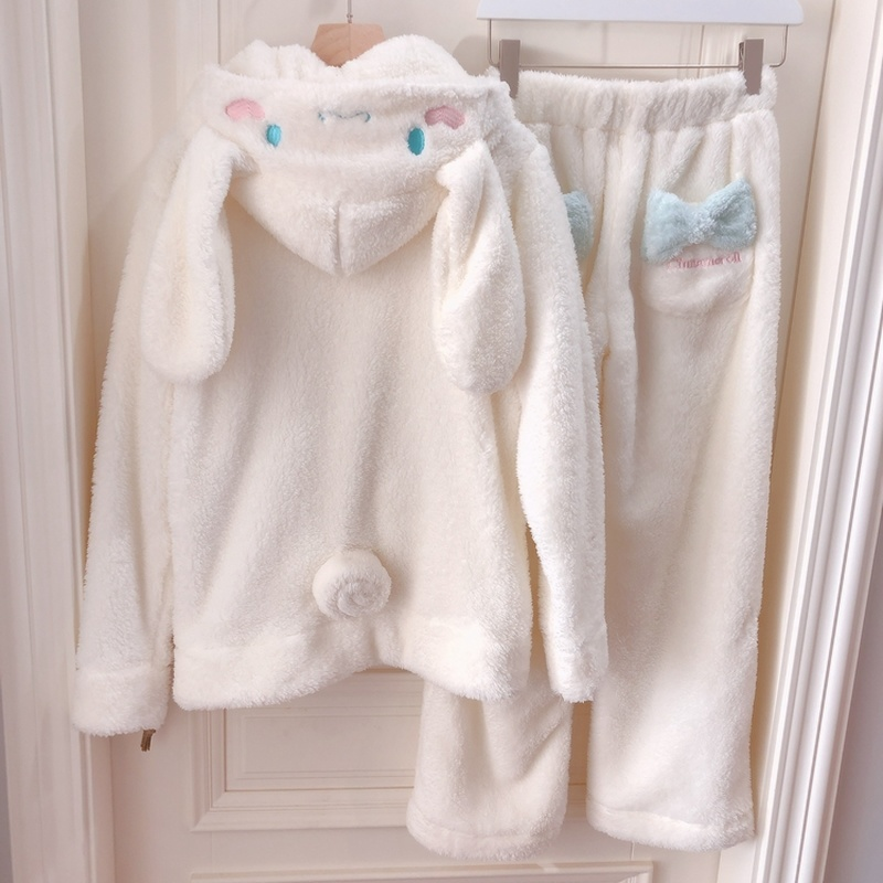Cosplay Cinnamoroll Sweatshirt Two Piece Pajama Coral Fleece Thick Warm Winter Women Cartoon Kawaii White Hoodies Trousers Set
