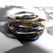 ZMZY Vintage Bohemian Bracelets For Women Fashion Boho Statement Jewelry Hematite Tila Beads ELastic Bracelet Femme Gift