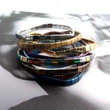 ZMZY Vintage Böhmischen Armbänder Für Frauen Mode Boho Erklärung Schmuck Hämatit Tila Perlen Elastische Armband Femme Geschenk