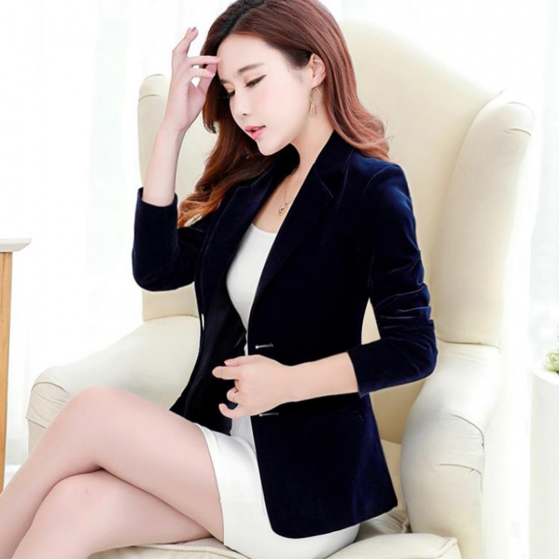 Gold Velvet Suit Spring And Autumn New Long-sleeved Suit Korean Version Of The Slim Gold Velvet Suit Jacket Women's Blazers Coat