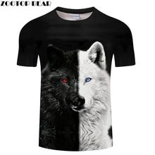 Ying and Yang Wolf Men Tshirt Streetwear T Shirt Casual