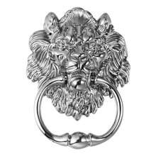 Poignée de porte avant en alliage de Zinc, forme de Lion, couleur argent, Antique, 1 pièce