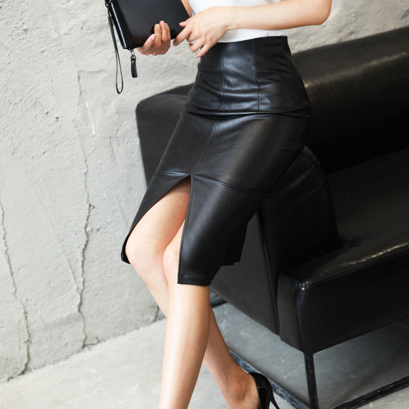 Aachoae Black PU Leather Skirt Women 2020 New Midi Sexy High Waist Bodycon Split Skirt Office Pencil Skirt Knee Length Plus Size 4