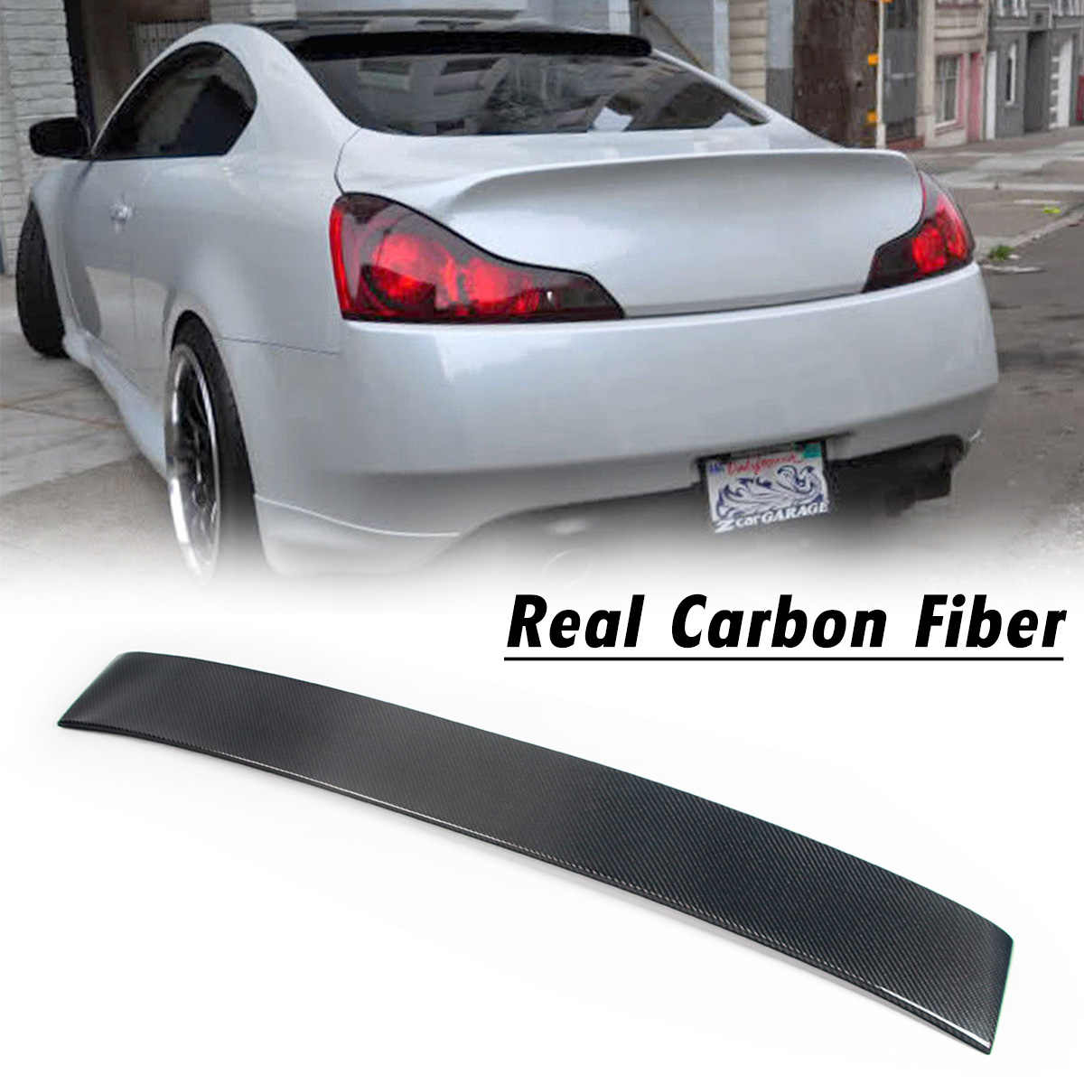 Real Carbon Fiber Rear Roof Lip Spoiler Tail Trunk Boot Wing Cover Accessories For Infiniti G37 2 Door Coupe Model 2007-2014