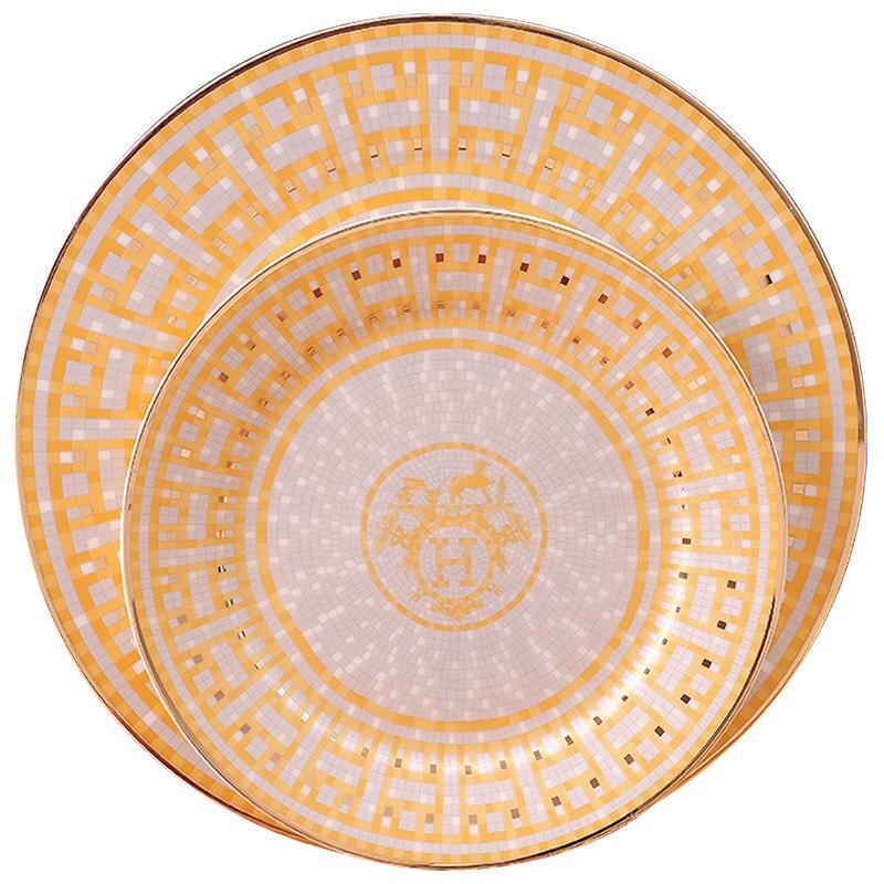 Vaisselle assiette de Steak or diamant | Vaisselle de luxe, série or et diamant, plateau en porcelaine, plateau européen vaisselle à gâteau