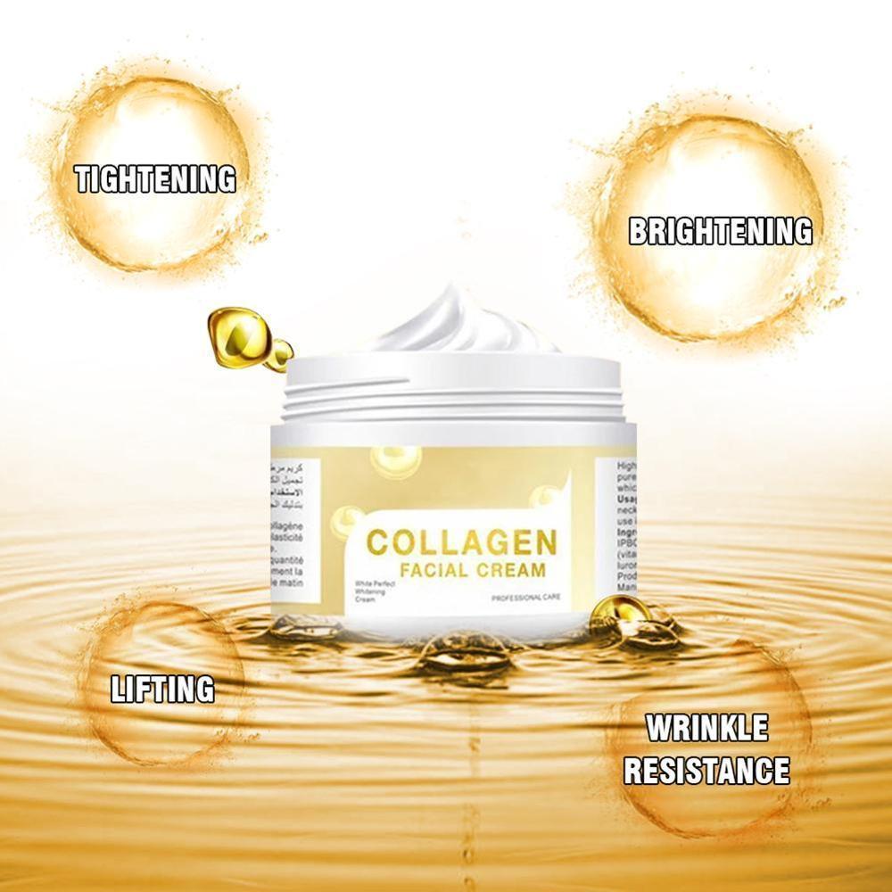 Collagen Face Cream Lifting Firming Facial Cream Hyaluronic Acid Moisturizing Anti Wrinkle Whitening Day Cream Korean Skin Care