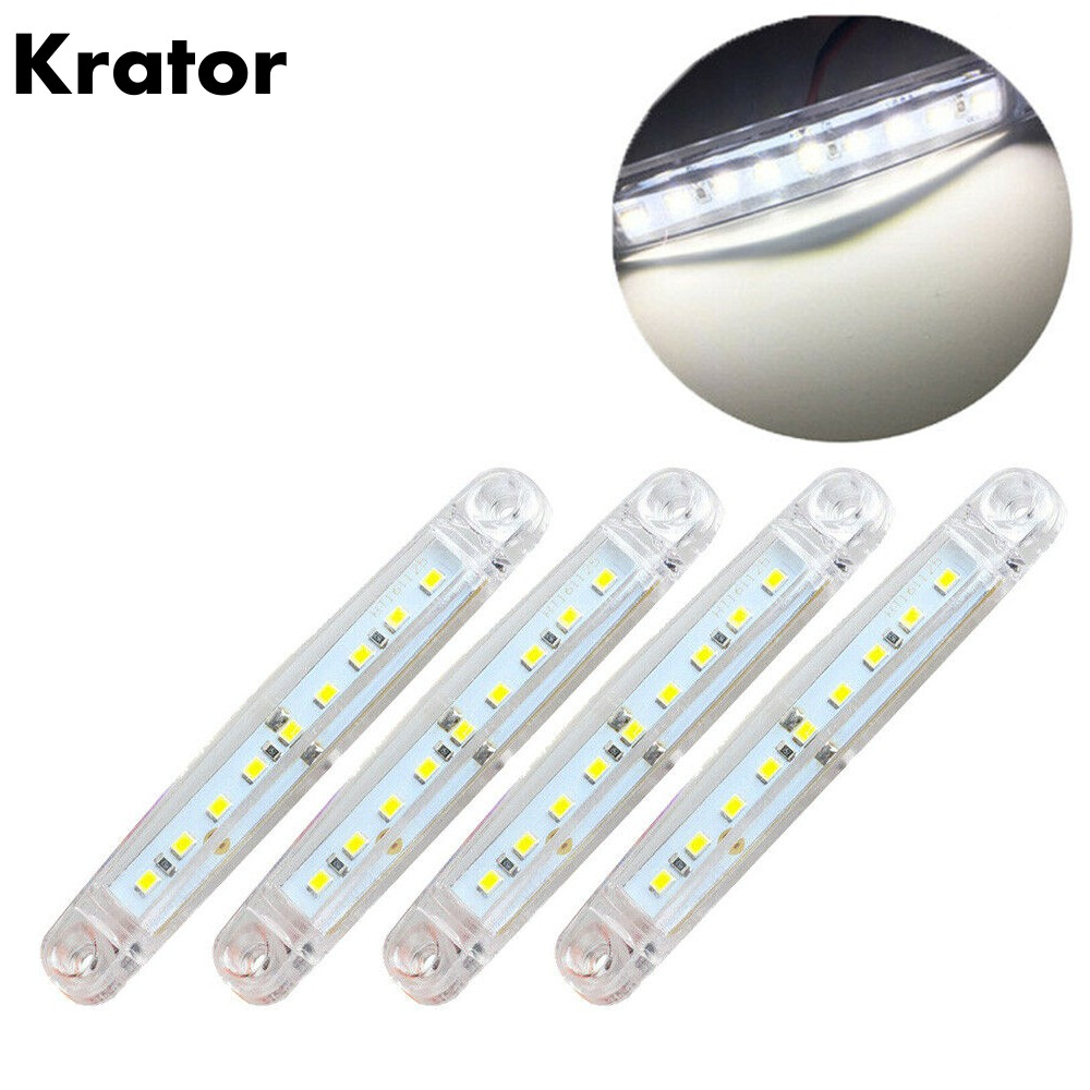 Krator 4PCS White 24V 9 LED Side Marker Light For Trailer Truck Boat BUS Indicator RV Lamp Waterproof