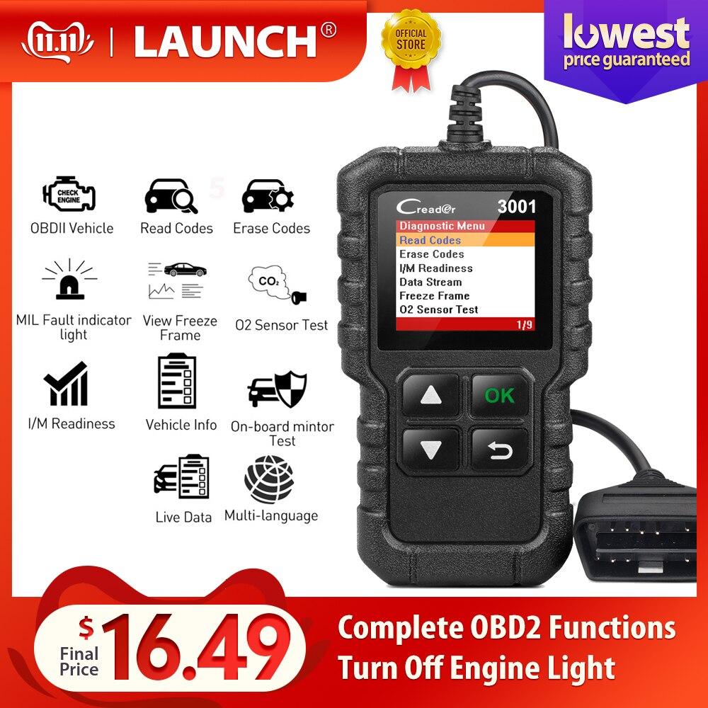 LAUNCH Full OBD2 Code Reader Scanner Creader 3001 OBDII/EOBD Car Diagnostic Tool In Russian CR3001 Pk AL319 AL519 OM123