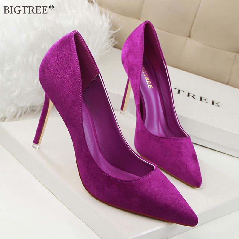 BIGTREE Basic High Heels 2020 New Shoes Women Pointed Toe Slip On Flock Pumps Female Fashion Wedding Party Shoe Purple Red Sexy