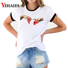 2019 New Summer Tops Michelangelo T Shirt Ulzzang Hands Heart Printed Women Harajuku Tshirt Graphic T-shirt Woman Clothes