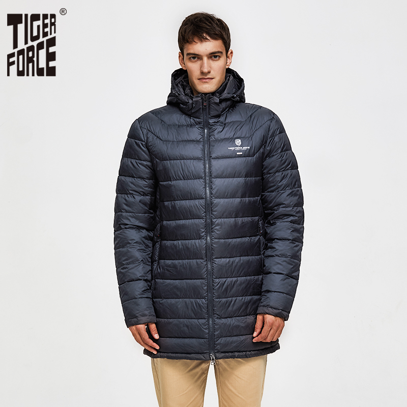 TIGER FORCE Men Padded Jacket Winter Male Medium-Long Coat Bio-based Cotton Coat Men's Warm Winter Jacket Spring Autumn Parka