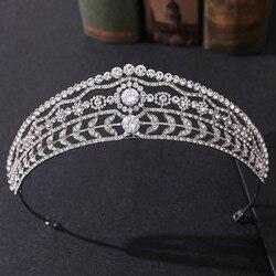 Baroque Luxury Crystal Leaf Bridal Tiaras Crown Rhinestone Pageant Diadem CZ Headbands Wedding Hair Accessories Tiara De Noiva