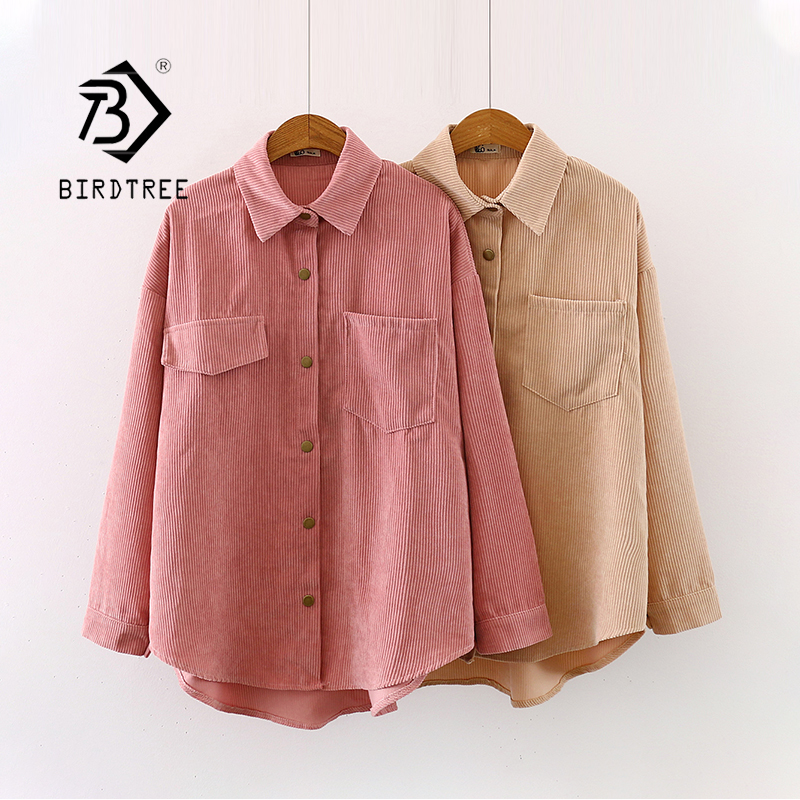 New Women Solid Corduroy Batwing Sleeve Vintage Blouse Turn-Down Collar Loose Top Button Up Pink Shirt Feminina Blusa T9D609T 1