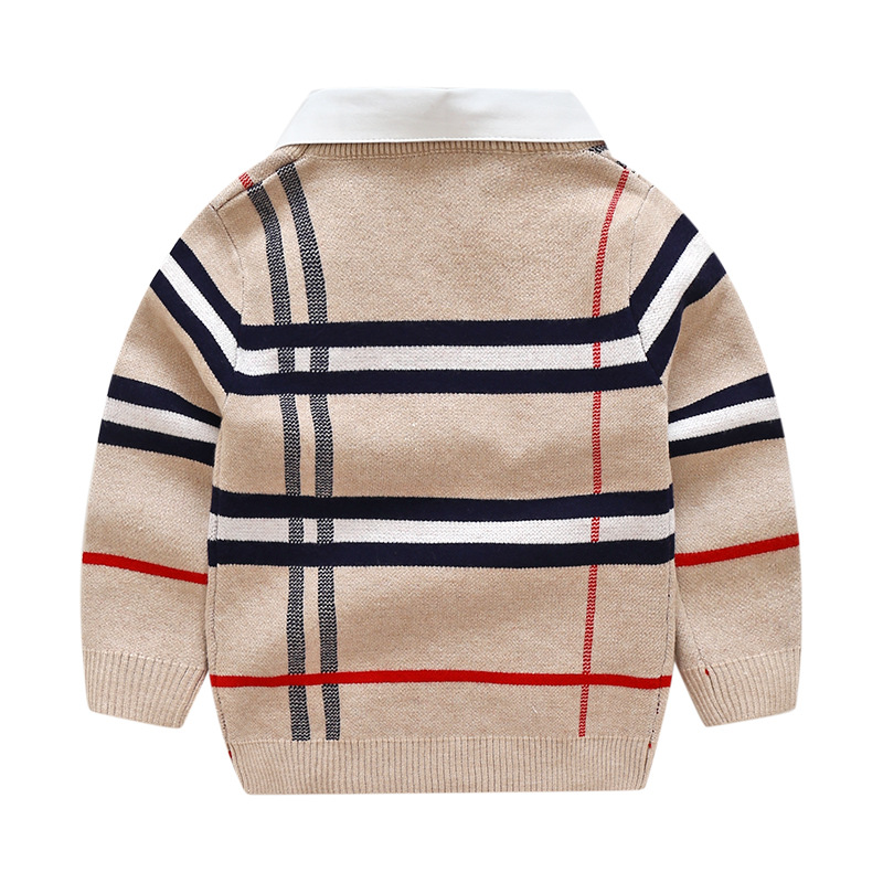 2020 Autumn Winter Boys Knitted Striped Sweater Toddler Kids Long Sleeve Pullover Children's Fashion Sweaters Clothes for Boys 3