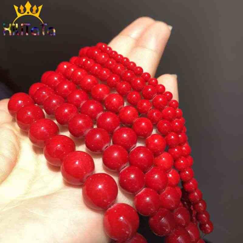 Corallo rosso Giade Perline Rotonda Naturale Perline di Pietra Allentati Per Monili Che Fanno FAI DA TE Orecchini Bracciali Accessori 15 ''4/ 6/8/10/12mm