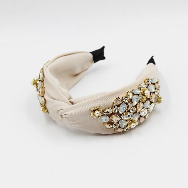 Pearl Flower Crystal Rhinestone Top Knotted  Headbands 6