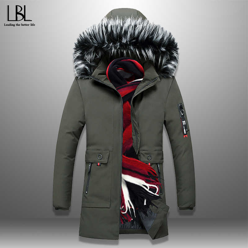 2019 Winter Men's Long Parkas Thicken Warm Coat Hooded Fur Collar Coats Windproof Padded Jackets Hat Detachable Fashion Overcoat