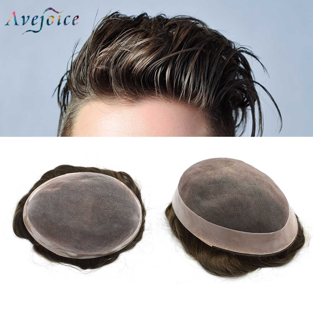 Avejoice Men Toupee Durable Hairpieces MONO & NPU Indian Remy Human Hair System For Males Natural Straight Hair Replacement