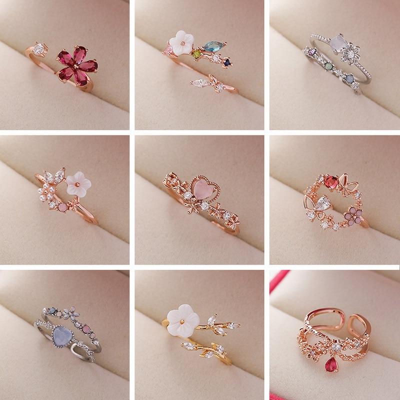 2021 новые модные кольца с кристаллами циркона, милые открытые Регулируемые кольца с цветами, листьями, бабочками, женские обручальные ювелир...