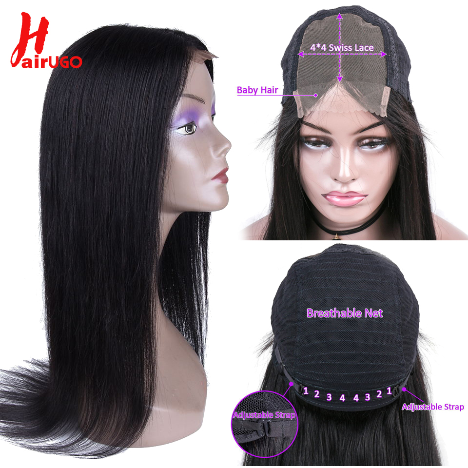 HairUGo Straight Hair Lace Wig Brazilian Remy Hair 4*4 Lace Closure Wig 100% Human Hair Wigs Pre Plucked Hairline For Black Lady