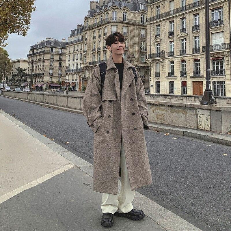 Winter Long Woolen Coat Men's Fashion Solid Color Casual Long Woolen Jacket Men Streetwear Loose Oversize Woolen Coat Mens