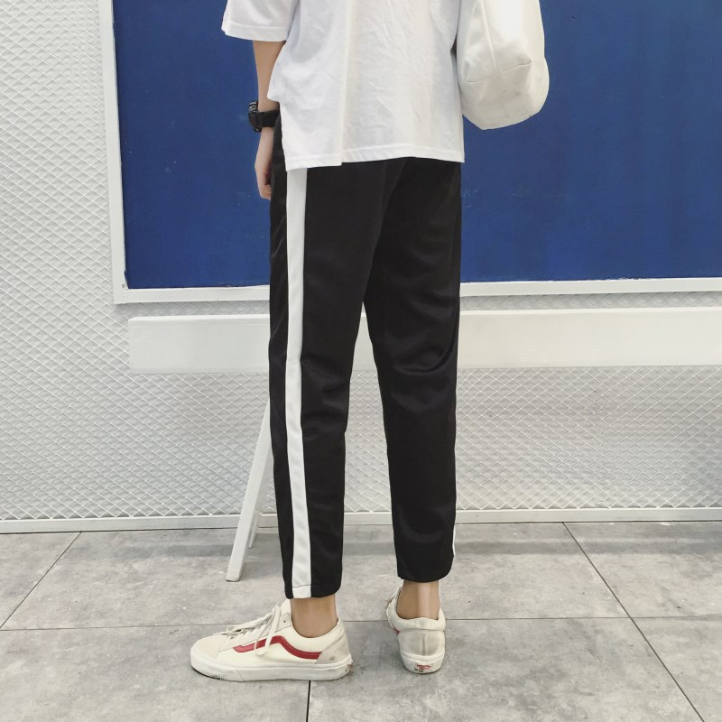 Spring And Summer Athletic Pants Men's Thin Long Pants Straight-Cut BOY'S Teenager Middle School Students Slim Fit Single Pole C