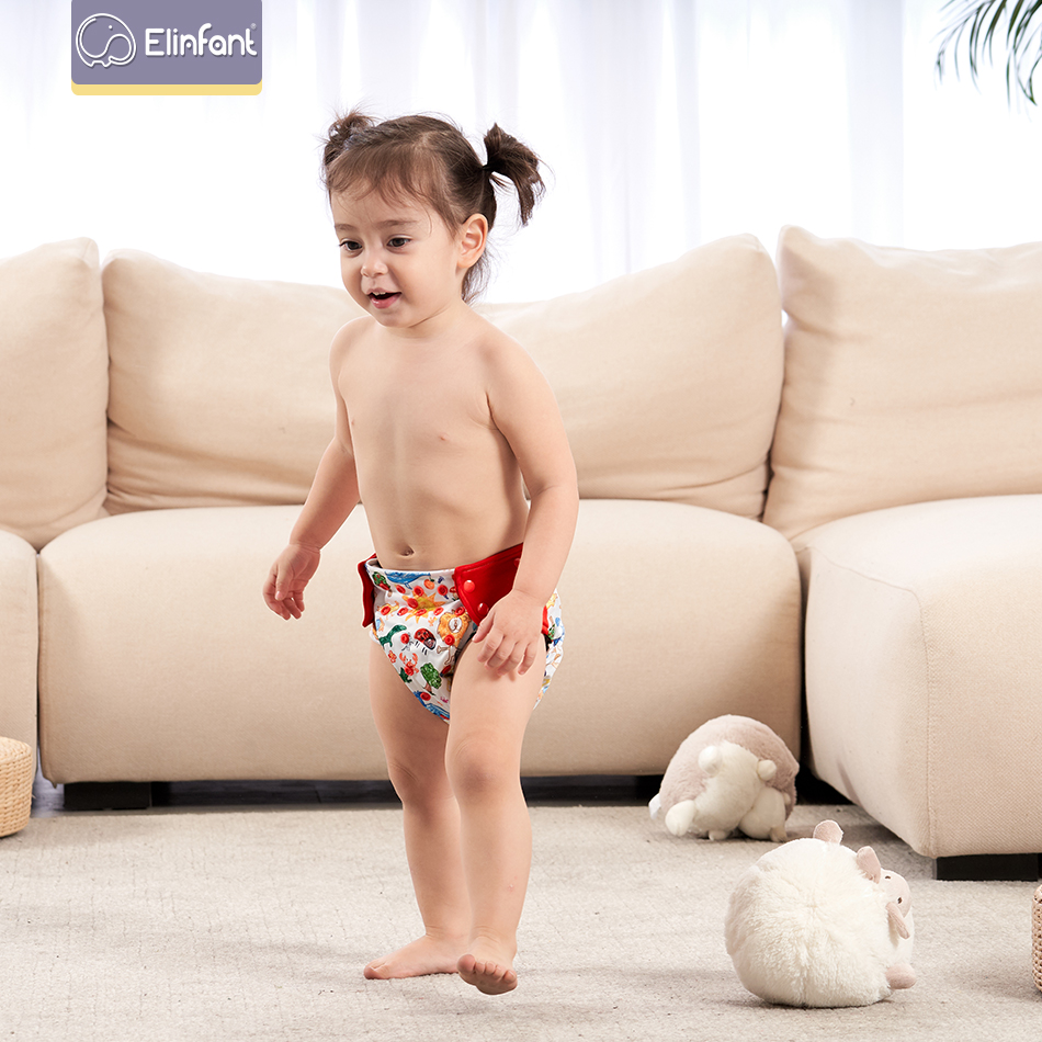 Elinfant 1PC Adjustable Reusable Baby Boys Girls Cloth Diapers Soft And Waterproof And Leakproof Baby Diapers Can Be Washed