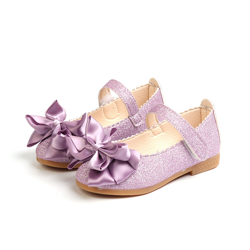 Children's mary jane flower bridesmaids shoes girls dress shoes wedding party glitter princess ballet flats for kid toddler