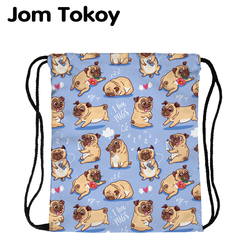 JomTokoy New Fashion Women Drawstring Backpack Cartoon Dog Printing Travel Softback Women Mochila Drawstring Bags
