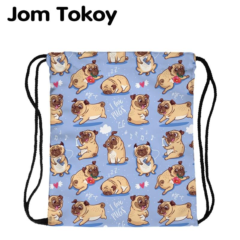 JomTokoy New Fashion Women Drawstring Backpack Cartoon Dog Printing Travel Softback Women Mochila Drawstring Bags