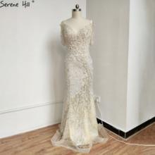 Serene Hill dubaj kości słoniowej perły kształtki Off ramię suknia 2020 luksusowe syrenka dekolt formalna suknia wieczorowa CLA70463