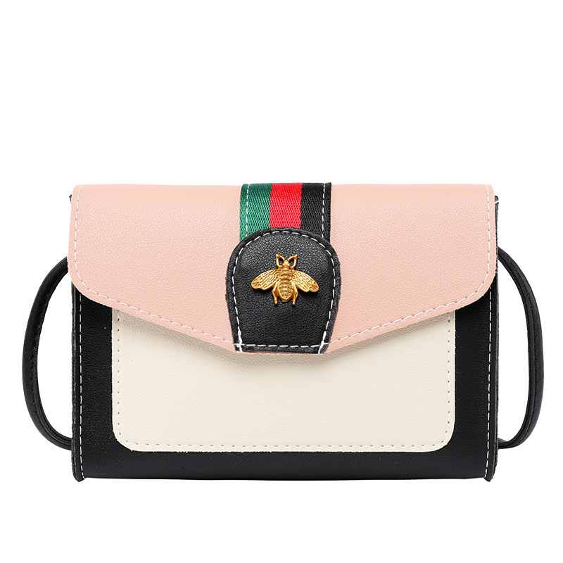 Spring And Summer 2020 New Korean Style Contrasting Color All-match Bee Shoulder Bag Phone Bag Messenger Bag Small Square Bag