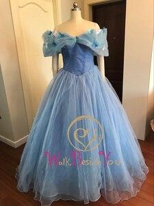 Image 3 - 100% תמונות אמיתיות במלאי כחול פרפר Cospaly סינדרלה שמלת כדור כותנות טול Quinceanera שמלות פרעו Dress15 שנים
