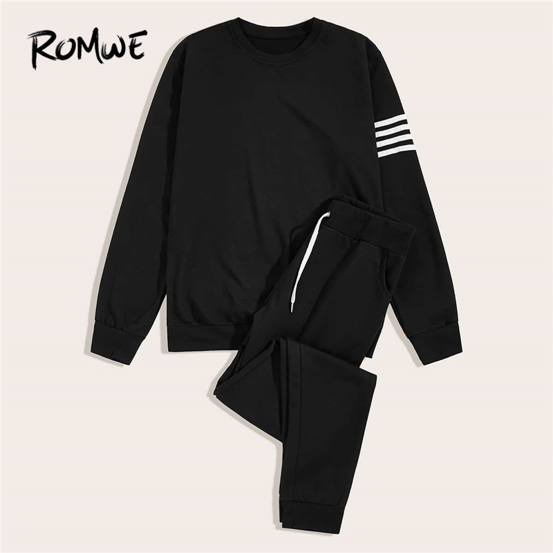 ROMWE Men Contrast Striped Side Tracksuit Fall 2019 Mens Clothing Black Sporty Round Neck 2 Piece Set Long Sleeve Track Suit