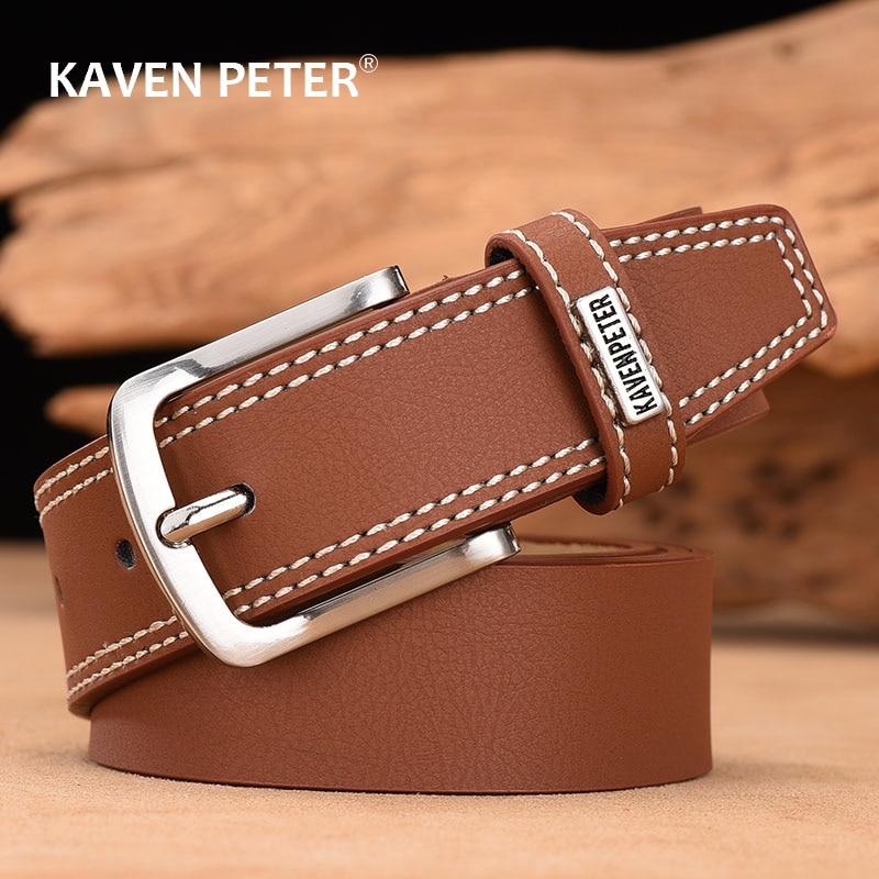 Designer Belts For Men High Quality Men Belt Cow Leather Fashion Vintage Male Strap For Jeans Black Dark Brown Dark Blue