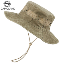 Bucket Hat Sun-Hats Hiking-Caps Uv-Protection Outdoor Male Cotton Women CAMOLAND Casual