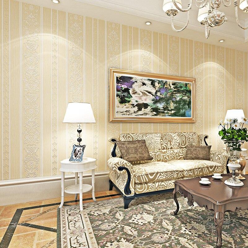Glorious European Style Wide Stripe Non-woven Wallpaper Living Room Bedroom Library Villa Lobby 3D Foaming Wallpaper