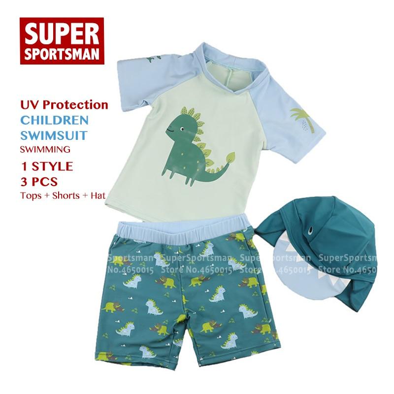 Boys Dino Rash Guard Swim Trunk Cap 3 Pc Swimwear Set