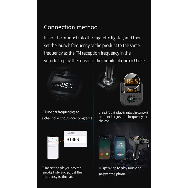 Dual USB Car Phone Charger with FM Transmitter Wireless Bluetooth Radio Adapter