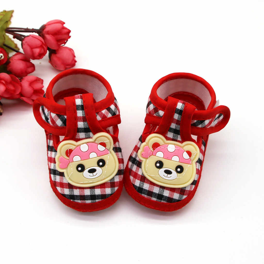 新生児の女の子靴 1 年幼児新生児幼児の靴ソフト漫画プリントチェック柄女の赤ちゃんのベビーブーティ 2019 最初の歩行者