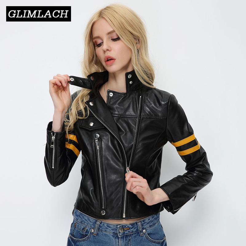 100% Sheepskin Real Leather Jacket Women Autumn Slim Motorcycle Genuine Leather Short Coat Office Lady Clothes Chaqueta Mujer