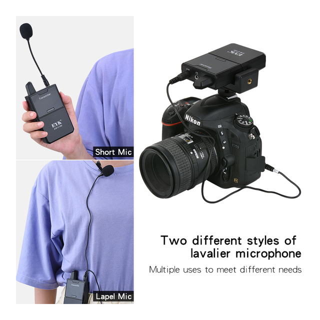 EYK EW-C102 Camera Mic Dual Wireless Lavalier Microphone with Monitor Function UHF Wireless Lapel Mic for Phones DSLR Cameras DV