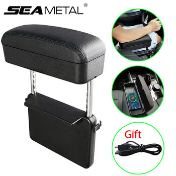 Auto Armrest Box Car Center Console Armrest Auto Organizer Seat Storage Boxes Leather Car Container Holder With Wireless Charge фото