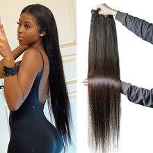 30 polegadas de osso em linha reta feixes cabelo humano para as mulheres negras não remy em linha reta feixes cabelo humano tecer pacotes 3/4 pçs/lot