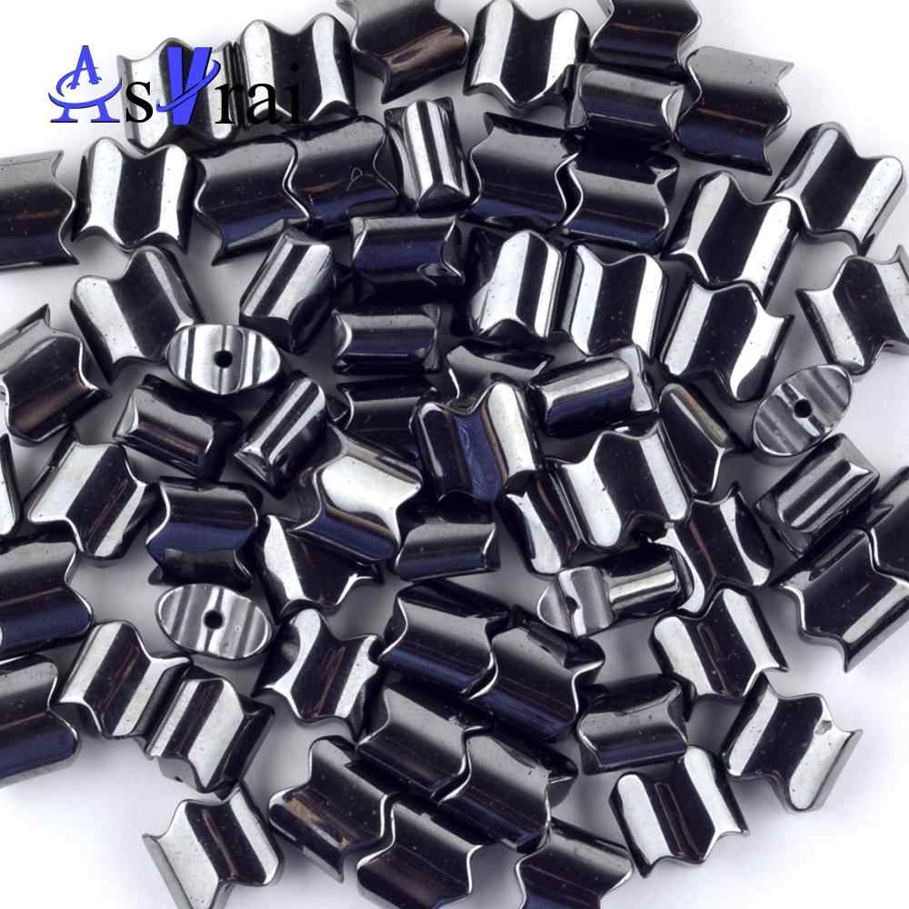 Natural Black Hematite Wave Shape Stone Beads Spacer Loose Beads For Jewelry Making 5*4/6*5/8*8mm Diy Bracelets Jewellery 15""