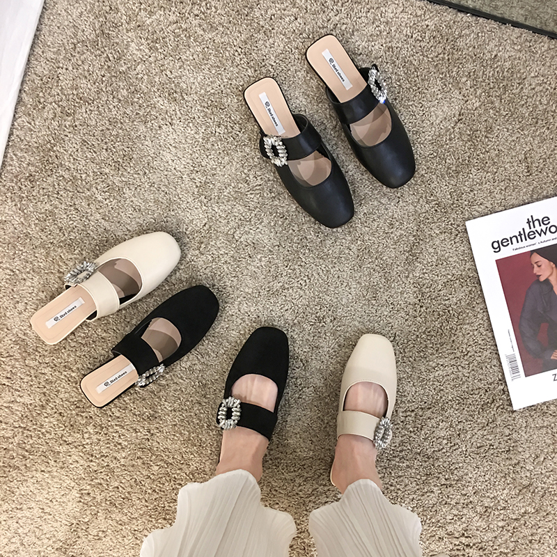 Women's Shoes Slippers Outdoor 2020 New Spring Fashion Square Buckle Rhinestone Square Toe Mules Shoes