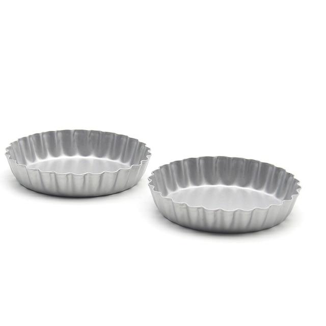 Mini poêle à gâteaux ronde à bord de fleur | Petit moule en acier au carbone antiadhésif de 4 pouces de diamètre, 8 pièces
