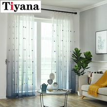 Window Screen Curtain Gradient Embroidered Star Moon Tulle Curtain For Children's Living Roomd Kids Bedroom Draperies M154Z