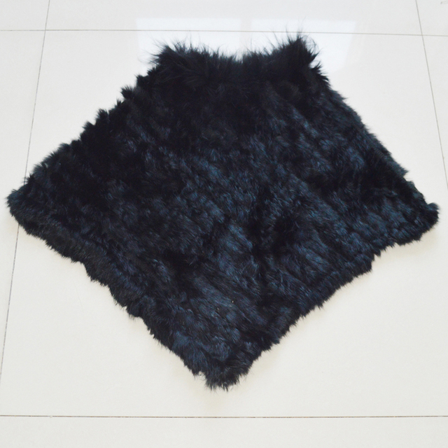 Autumn Winter Lady Genuine Knitted Rabbit Fur Poncho Wrap Scarves Women Natural Rabbit Fur Shawl Triangle Cape Wholesale Retail 3