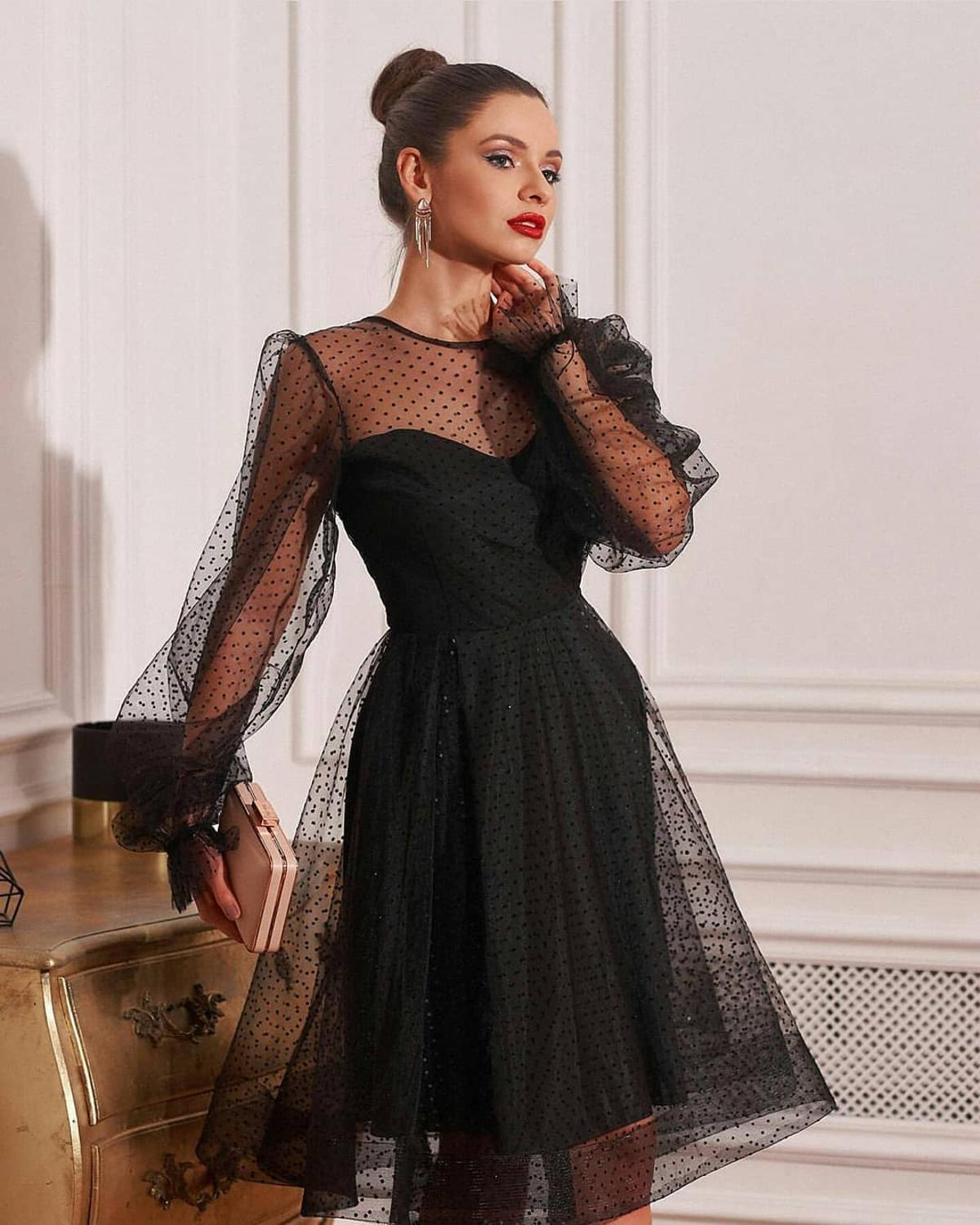 Black Long Sleeve Knee Length Cocktail Dress Short Plus Size Elegant Prom Dresses Custom Cheap Simple Party Gowns
